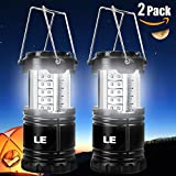 LE® 2 Pack Portable Outdoor LED Camping Lantern Flashlights, 30 LEDs, Battery Powered, Water Resistant, Home Garden Camping Lanterns for Hiking, Emergencies, Hurricanes (Black, Collapsible)