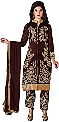 Manmauj Women's Cotton Unstitched Dress Material (MM10029DLKD, Tan)