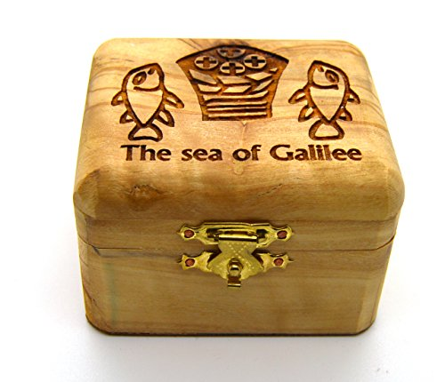 Olive Wood Box Genuine Holy Land Olive wood Tabgha Mosaic Sea of Galilee Miracle of the Fishes and Loaves (Mosaic Fish compare prices)