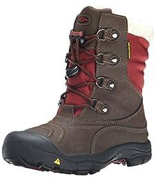KEEN Basin WP Winter Boot (Little Kid/Big Kid), Cascade Brown/Madder Brown, 1 M US Little Kid