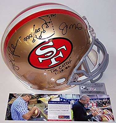 Joe Montana & Dwight Clark Autographed Hand Signed San Francisco 49ers Throwback Full Size Authentic Football Helmet - with Drawn out Play - PSA/DNA