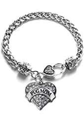 Pug Mom Pave Heart Bracelet Silver Plated Lobster Clasp Clear Crystal Charm