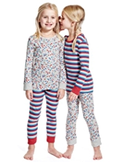 2 Pack Pure Cotton Heart & Striped Pyjamas