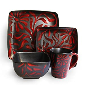 American Atelier Daisy Red 16-Piece Dinnerware Set by American Atelier