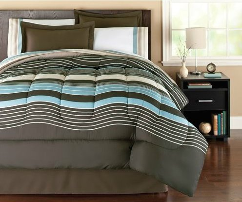 Brown & Blue Urban Striped Boys Queen Comforter Set (8 Piece Bed In A Bag) front-27812