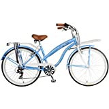 "26"" Women's Cruiser Bike, Blue, 6-Speed, aluminum rims, steel handlebar"