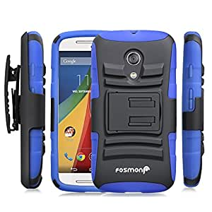 Fosmon STURDY Shock Absorbing Dual Layer Hybrid Holster Cover Kickstand Case for Motorola Moto G (2nd Generation, 2014) (Dark Blue)