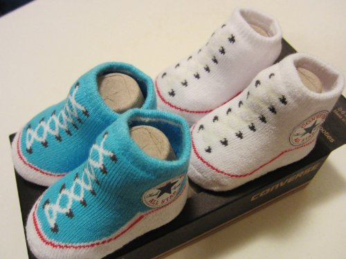 Converse Infant Baby Booties Socks, Turquoise & White, 0-6 Month, 2 Pairs.