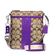 Hot Sale Coach Signature Legacy Swingpack Crossbody Bag 48452 Khaki Ultraviolet