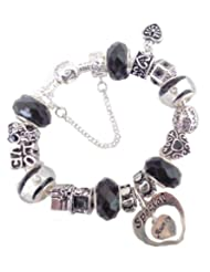 Treasured Charms & Beads Black Sparkle Special Aunty Charm Bracelet Gift Boxed