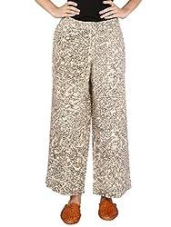 Beige Khadi Cotton Straight Pants With Hand Painted Kalamkari