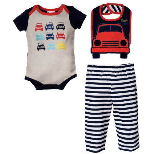 Peanut Buttons Baby-Boys Newborn Boy 3 Piece Car Drop Down Bib Sets, Grey/Navy, 0-3 Months