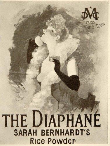1913 Diaphane Sarah Bernhardt Jules Cheret Mini Poster - ORIGINAL - Original Mini Poster
