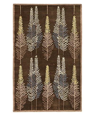 Handmade Leaf Wool Rug, Dark Brown, 5' x 8'