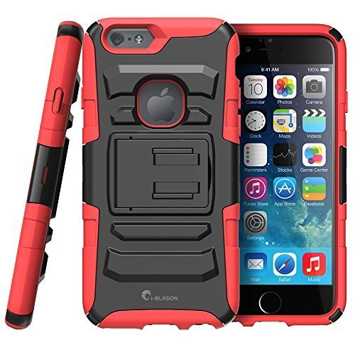 iPhone 6s Plus Case ,i-Blason Prime [Kickstand] Apple iPhone 6 Plus Case (5.5) [Heavy Duty] [Dual Layer] Combo Holster Cover [Belt Clip] (Red)