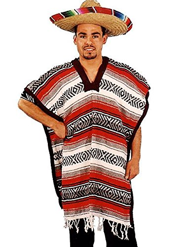 Alexanders Costumes Mexican Poncho, Red, One Size