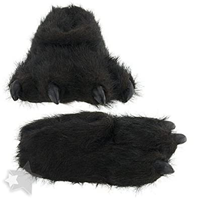 Wishpets Black Bear Paw Slippers, Black, Medium