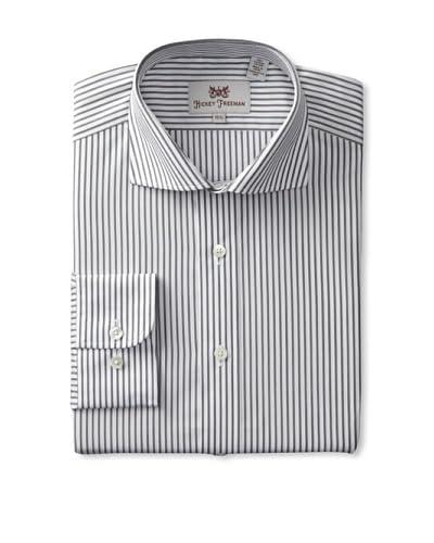 Hickey Freeman Men's Stripe Dress Shirt  [Black/White]