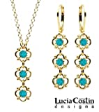Victorian Style Pendant and Earrings Set by Lucia Costin with 3 Lovely Flowers, Dots and Turquoise - Green Swarovski Crystals; 24K Yellow Gold over .925 Sterling Silver; Handmade in USA