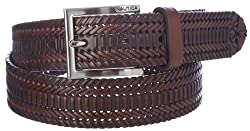 Nautica Mens Leather 1 3/8 Inch Hand Laced Braid with Burnished Edges Belt, 44, Brown