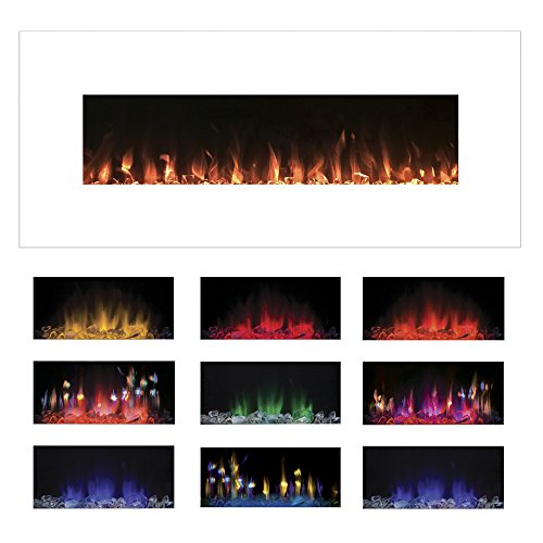 Northwest 80-WSG02 White Electric Fireplace Color Changing Wall ...