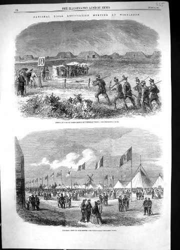Antique Print Of 1861 Rifle Association Wimbledon Shooting Comet Astronomy Telescope