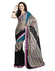 Indian Designer Sari Pleasing Stripes Printed Faux Georgette Saree By Triveni
