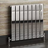 iBathUK | 600 x 600 mm Chrome Column Designer Radiator Horizontal Single Flat Panel