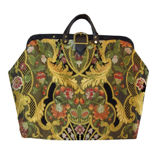 ArtisanStreet's Italian Elegance Carpet Bag with Matching Fabric Shoulder Strap. Limited Edition. Use as Overnight Bag or Even as a Briefcase