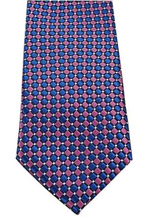 COLLAR AND CUFFS LONDON - Hochwertige Krawatte - Handgefertigte - Marineblau und Lila - Kleine Quadrate Muster - Für Herren