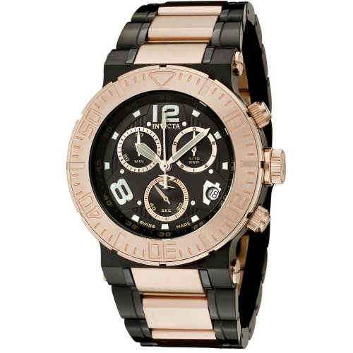 Invicta Mens 6763 Reserve Collection Chronograph 18k Rose Gold-Plated and Black Stainless Steel Watch