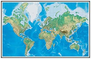 96x144 world geophysical wall map mural for Environmental graphics giant world map wall mural