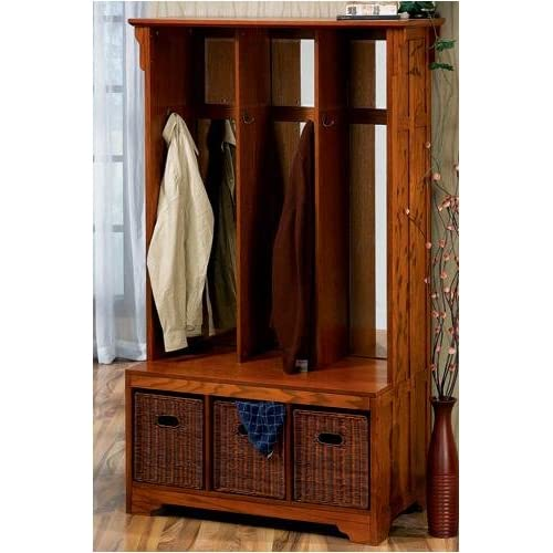 craftsman wide hall tree storage bench with wicker baskets