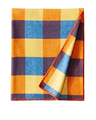 bambeco Classic Plaid Wool Throw, Gold