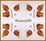Contractors 12 Pack-TRUE ANTIQUE DEPRESSION CRYSTAL GLASS Cabinet Knob Pulls, Vintage Styling from earlier period in American History. Includes a duplicate of the original connectors, Plus info for connector upgrades as on Amazon(Rich Amber)