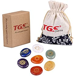 TGS Gems® 7 Piece Engraved Chakra Pebble Stone Palm Stone Crystal Reiki Healing with One Pouch En0001sy