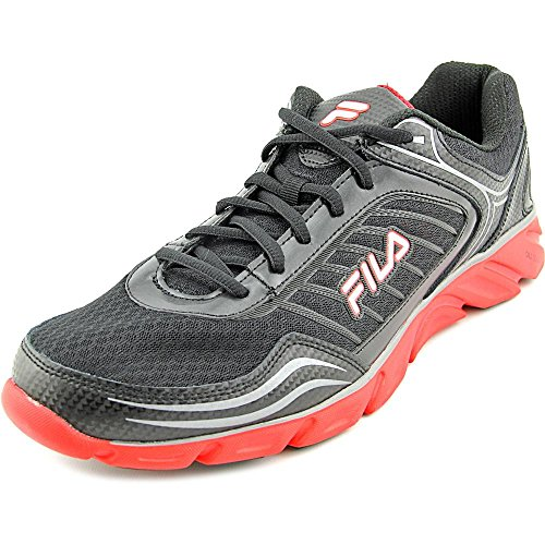 Fila Men's Memory Fresh 2 Running Shoe, Black/Fila Red/Metallic Silver, 11 M US