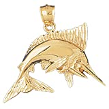 Gold Marlin Pendant (approx. 5.6 grams, 37 mm x 37 mm)
