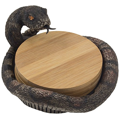 Decorative Rattlesnake Bamboo Drink Coaster Set with Display Holder Figurine in Southwestern Bar & Table Decorations or Southwest Kitchen Decor and Artistic Desert Animal Collectibles As Snake Gifts for Diamondbacks Fans