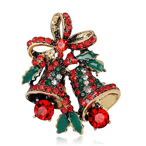 [Christmas Rhinestone Jingle Bells Doorbell Bowknot Xmas Brooch Pin Women Men Jewelry Sweater Shawl Scarf] (Peppermint Butler Costume)