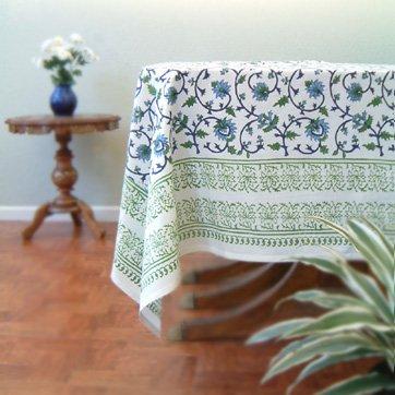 Moonlit Taj ~ Elegant Floral Turquoise Indian Table Cloths 70x90