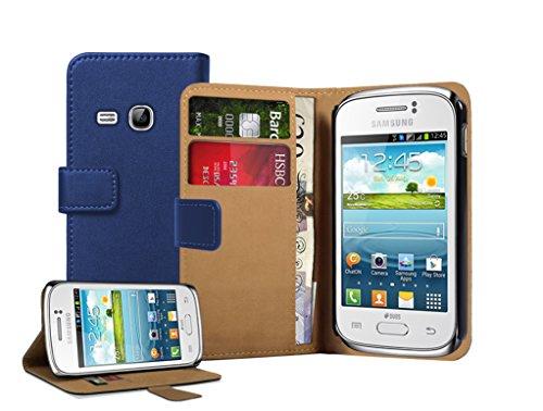 Membrane - Blu Portafoglio Custodia per Samsung Galaxy Young (GT-S6310 / S6312 Duos / Dual / S6310L / S6310N) - Flip Case Cover + 2 Pellicola