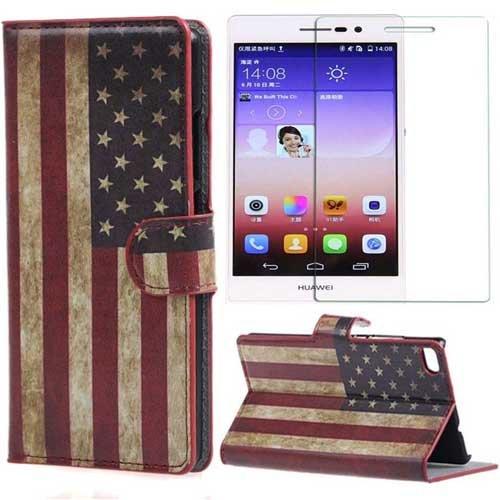 Semoss Set 2 in 1 Composto Retro USA American Bandiera Custodia in Pelle per Huawei Ascend P8 Wallet Portafoglio Flip PU Cuoio Cover con Protezione Schermo,Scomparto per Carte di Credito e Stand Funzione