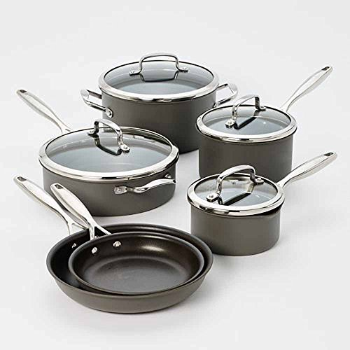 Cookware Set 10-pc. Hard-Anodized Nonstick Aluminum surface makes cooking and cleanup a breeze. Tempered glass lids lock in heat and moisture.