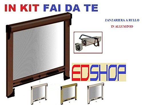 Zanzariera a rullo finestre porte struttura alluminio casa 140x170cm BIANCO Marrone kit fai da te (bianco)