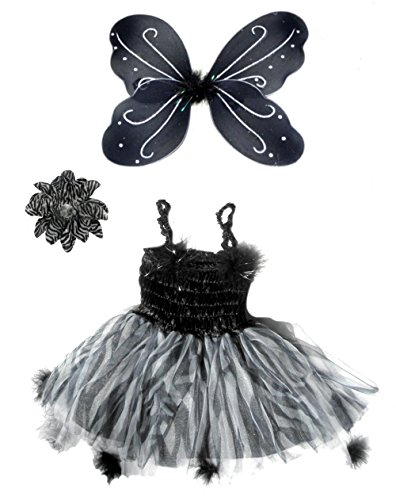 3 Pc Black & White Girls Fairy Pompom Costume with Zebra Hair Clip Ages 4-6