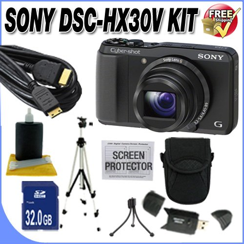 Sony Cyber-shot DSC-HX30V 18.2 MP Exmor R CMOS Digital Camera with 20x Optical Zoom and 3.0-inch LCD (Black) (2012 Model) + 32GB SDHC Class 10 Memory Card + Professional Full Size Tripod + Deluxe Case + USB Card Reader + Memory Card Wallet + Mini HDMI to