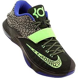 Nike KD VII Mens Basketball Shoes 653996-030 Metallic Pewter Anthracite-Lyon Blue-Flash Lime 9 M US