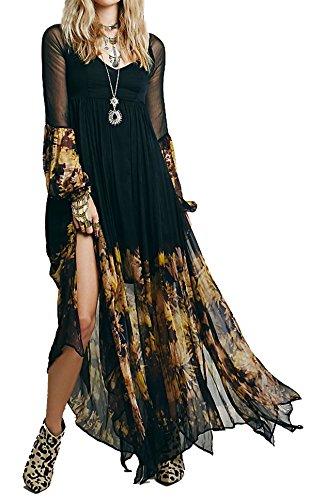 R.Vivimos Women Chiffon Flower Printing Split Asymmetrical Long Dresses XLarge (Hippie Clothing compare prices)