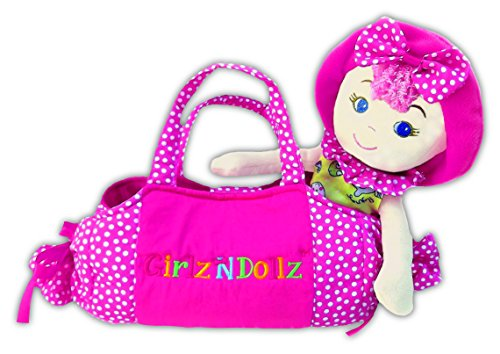 "Leila Polka Dot Cutie with Pink Bag Stuffed Soft Rag Doll Baby Kids 14""/8""girlzndollz"